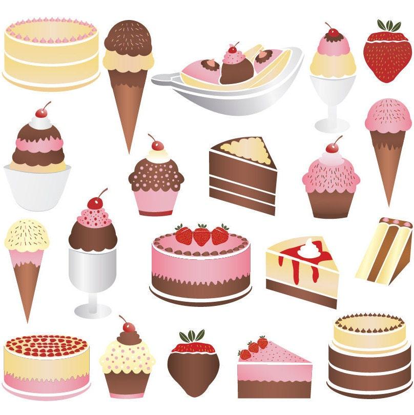 Cake and Ice Cream Clip Art chocolate vanilla and by ...