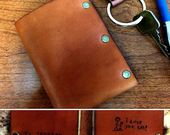 Leather wallet with personalized etching or handwritten message!