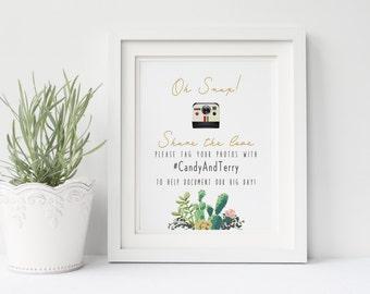 Printable wedding photo sign, Wedding instagram sign, Hashtag wedding sign, Succulent wedding social media sign , The Lane collection