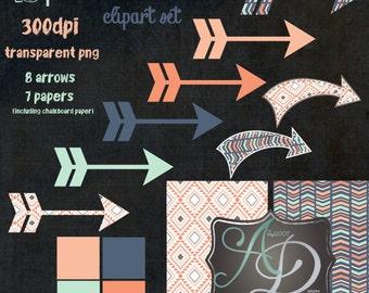 Aztec Arrow Clipart Set 15 pieces Transparent PNG files 300dpi Papers Indian