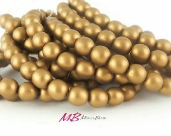 25 Matte Antique Gold Druk Beads, Czech Round Smooth Druk Beads