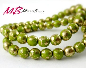 25 6mm Avocado Green with Gold Druk Beads, Czech Round Druk Beads