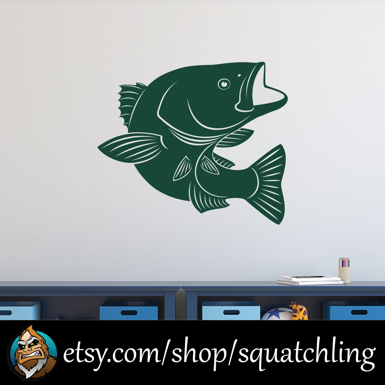 Bass fish wall decal fishing decal hunting decal for Hunting and fishing decals