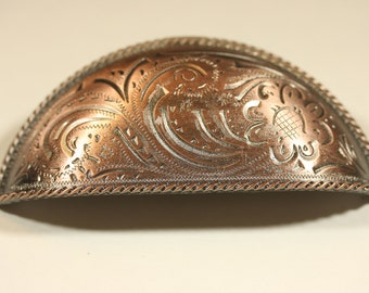 Fancy Western Style Bin Pull - Antique Copper
