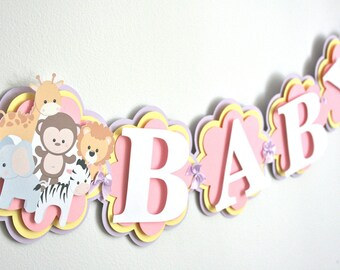 Baby Animal Baby Shower Banner - Baby Shower Decorations - Baby Zoo Themed Party - Baby Animals -Baby Girl Baby Shower Decorations