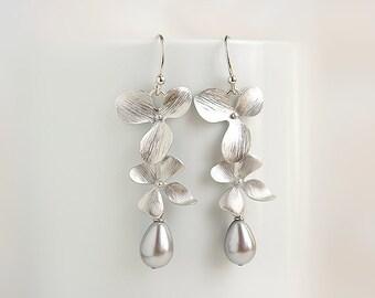 Silver orchid earrings Long cascade orchid earrings grey pearl Dangle Drop flower floral earring Grey wedding jewelry Cascading orchid pearl