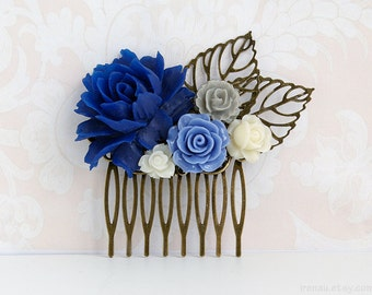 Navy blue dark blue hair comb, Ivory rose grey flower brass leaf hair comb, Something blue wedding hair accessory Romantic floral brass comb