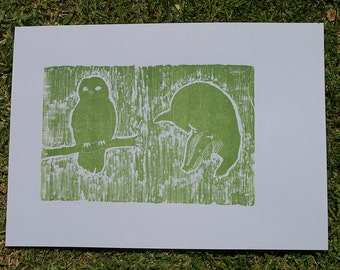 The Owl and the Badger (woodcut)