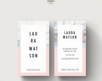 Premade Modern Business Card Design, Creative Contemporary Design Style, Small Business Detlicate Photography Contact Card, Image background