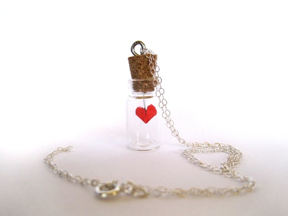 Origami Heart Charm Necklace inside Tiny Bottle Heart - photo#31