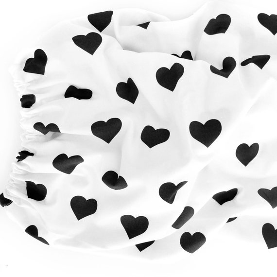 Organic Crib Sheet Black Hearts Fitted Crib Sheet Baby