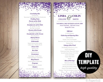 Confetti Wedding Program Template,DIY Purple Wedding Program,Creative Wedding Program,Aubergine Wedding Program