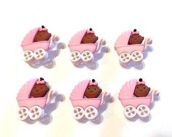 Black Baby Pink Buggy Buttons Jesse James Buttons Baby Fun-Girl Dress It Up Buttons Set of 6 Shank Back - 62