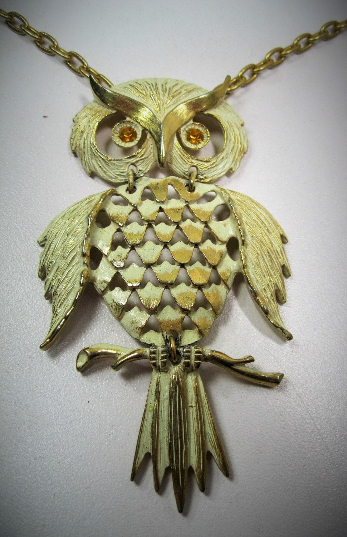 owl pendant necklace gold tone white finish