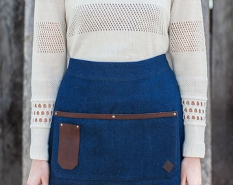 Blue Denim and Leather Half Apron