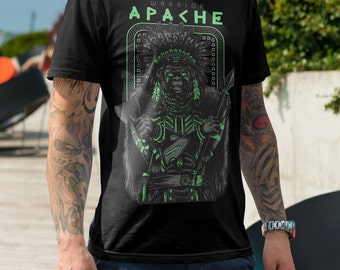 Apache Warrior Men's T Shirt - American Apparel T-shirt shirt adult soft graphic design black  Gift for him tee