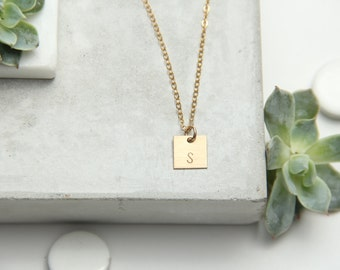 Small Square Initial Necklace, 1 Disc, Gold Filled or Sterling Silver