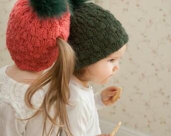 KNITTING PATTERN ponytail hat Abbey (toddler, child, woman sizes)