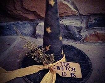 Handmade primitive black halloween witch hat