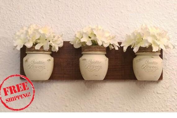 Home decor Southern Rustic Chic Mason Jar wall hanging