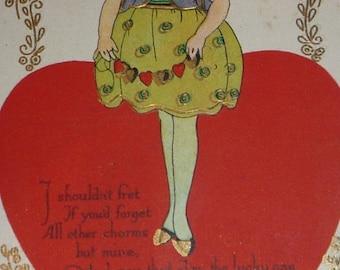 on sale Charming Girl on Valentine Vintage Postcard