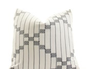 African Cloth Boho Pillow Cover, Vintage, Ethnic, Textile, Handwoven, Indigo, White 18x18