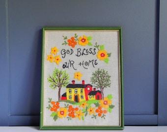Vintage Crewel Artwork/Embroidered Artwork/God Bless Our Home/Fabric Artwork/Framed Embroidery/Framed Crewelwork/Handmade/1960s