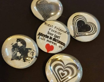 Set of 5 Strong Glass Black and White Heart Magnets, Friend Magnets, Best Friends, Hearts Refrigerator Magnets, Kitchen, Office Locker Decor