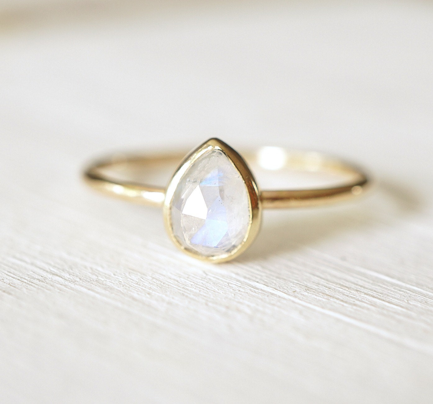 moonstone ring cut ring pear shaped ring 14k gold by