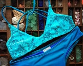 Reversible teal blue lace bralet bikini top with strappy adjustable back straps - Cute and sexy swimsuit separates made in USA