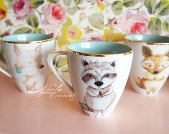 Bowl of raccoon - Mugs Illustration Raccoon springstyle ceramic teacups cups illustrated ceramics teaparty woodland