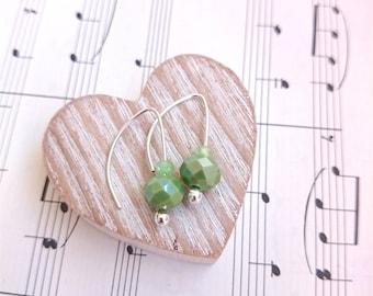 Simple Bead Earrings. Glass Earrings. Green Earrings. Small Drop Earrings. Cute Earrings. Light Earrings. Elegant Earrings. Blue Earrings.
