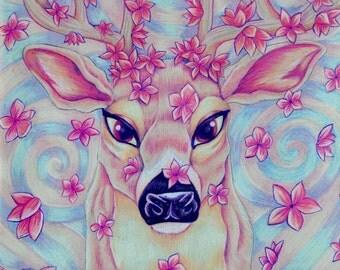Beautiful Pastel Nursery Art Sakura Cherry Blossom Deer Fine Art Print 8X10