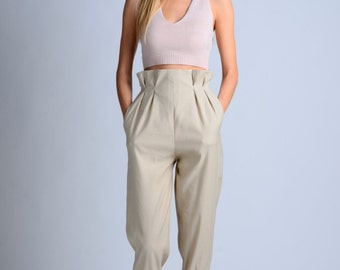 vintage 50s inspired beige unusual pants / retro pants / 50s pants / vintage pants / high waist pants / !!more colors and sizes!!