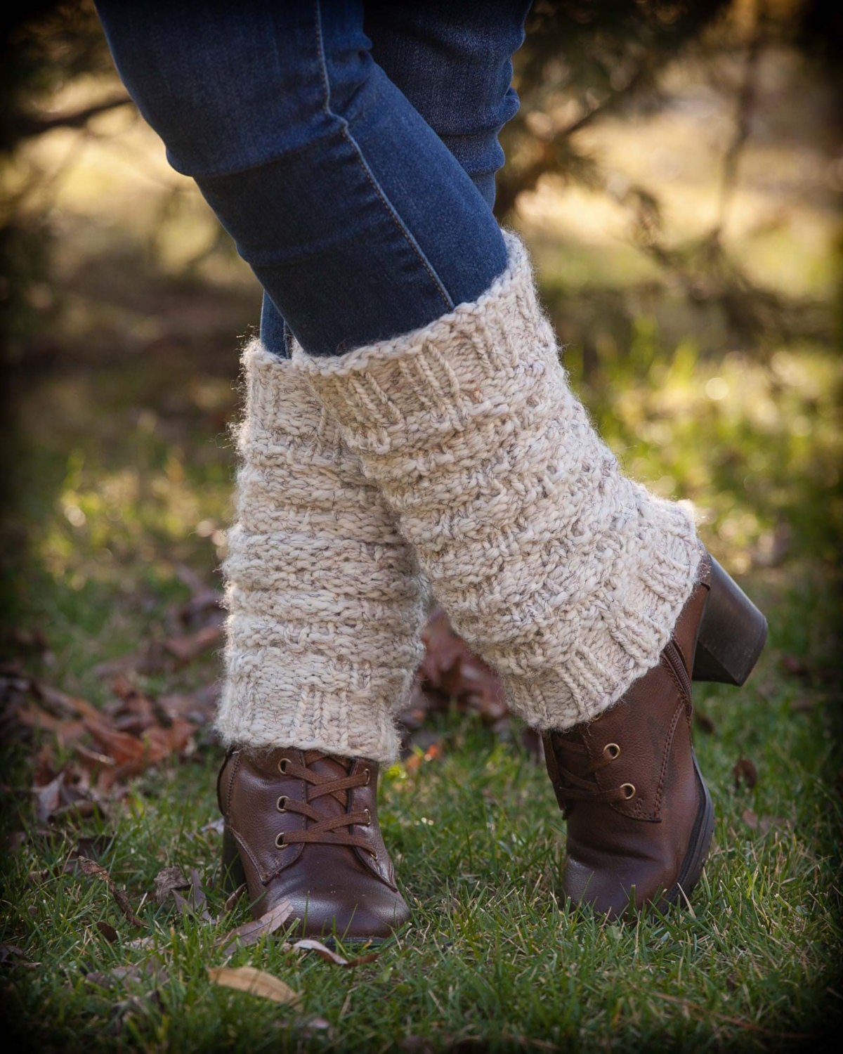 Loom Knitting Pattern For Leg Warmers : Loom Knit Legwarmer PATTERN. Forest Walk Ladies Legwarmers/