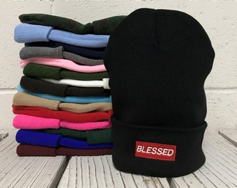 Blessed Embroidered Long Beanie Cuffed Cap - Multiple Colors
