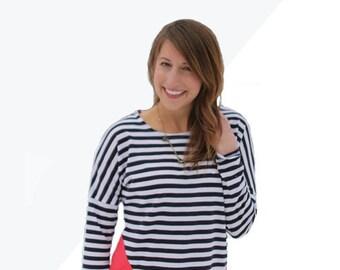 Aurora Tee, knit dolman short long sleeve tee for women pdf sewing pattern