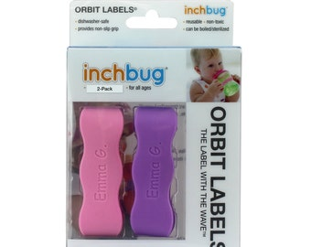 Personalized Labels for baby bottles and sippy cups by InchBug Bee/Butterfly and Frog/Castle (Bubblegum Pink and Wild Violet 2-PACK)