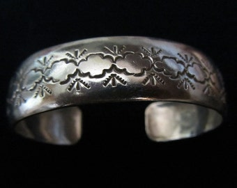 Navajo Signed Sterling Silver Cuff Bracelet With Native American Symbols By Elsie Yazzie