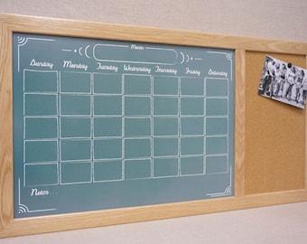 custom framed command center green chalkboard calendar dry erase board cork bulletin board large wall calendar planner organizer