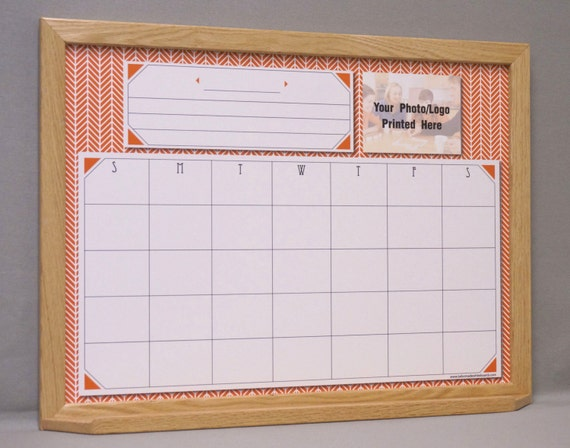 Monthly Calendar Board : Monthly calendar dry erase board burnt orange herringbone