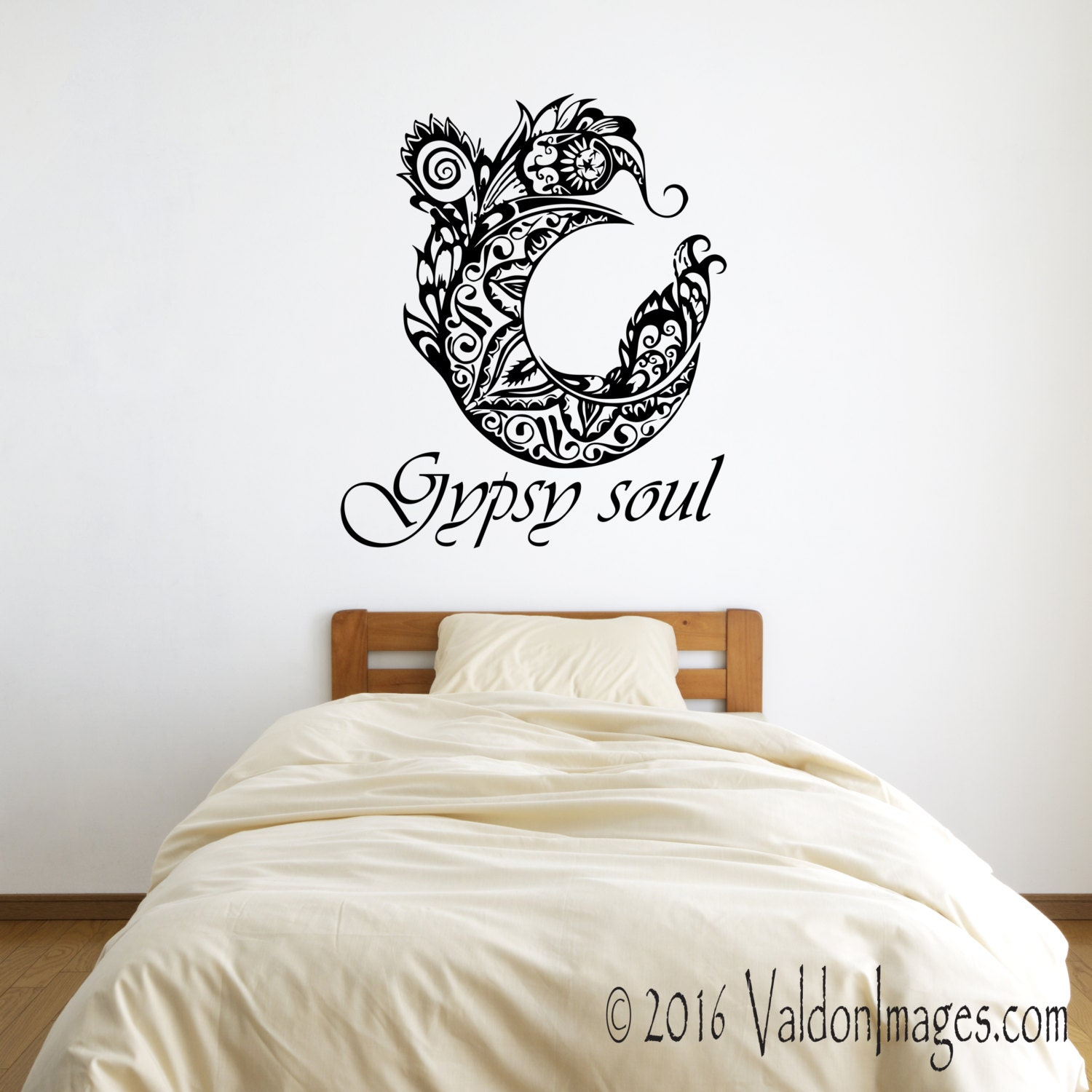 Gypsy soul boho wall decal bohemian wall decal feather wall