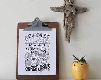 1 Thessalonians 5:16-18 Printable Bible Verse Art Print 8x10 Digital Wall Art Gift