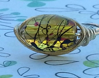 Wire Wrapped Ring Handmade, Painted Glass Bead, Candmjewelrydesigns,  Ring Any Size.