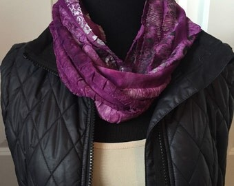 Purple (plum) print infinity scarf! Colors of purple, silver and black! Soft and lightweight! Ruffle knit fabric! Beautiful necklace scarf!