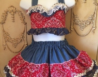 Pageant girls Semi Glitz Costume Cowgirl Western Rodeo ruffled skirt