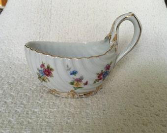 Floral Creamer, Sauce Boat, Scallop Design, Gold Trim, Blue Crown Marked 22/154, Floral Porcelain Creamer, No Real Spout