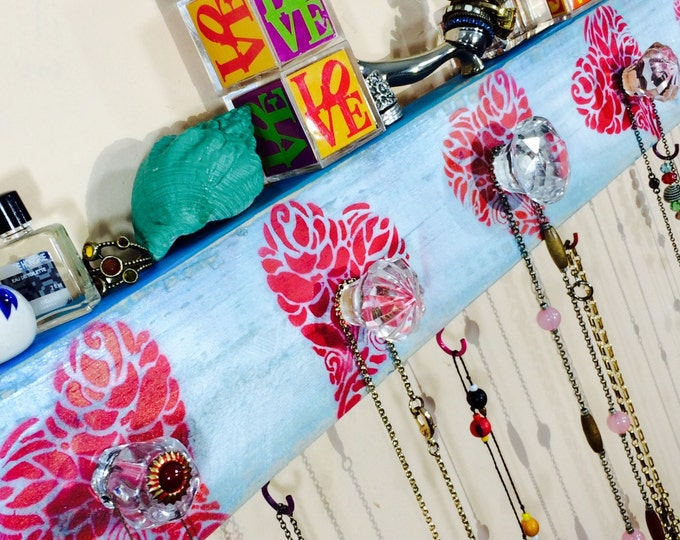 reclaimed wood decor /necklace display holder /recycled jewelry hanger storage /hanging wall rack organizer stenciled hearts 6 hooks 5 knobs
