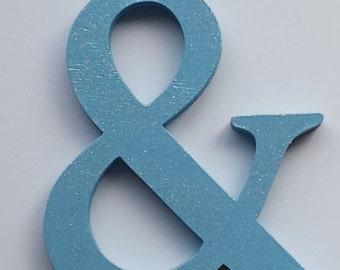 Hand Painted Wood Light Blue Glitter Ampersand &