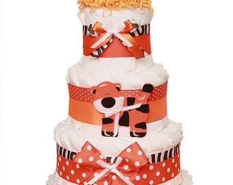 Tiger Diaper Cake, Tiger Baby shower Centerpiece, Tiger Baby Cake, Tiger Baby Shower